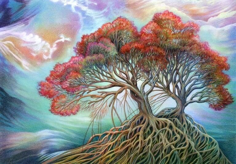 alberi con fitte radici