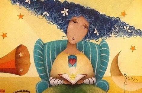 donna con cuore e libro con una stella