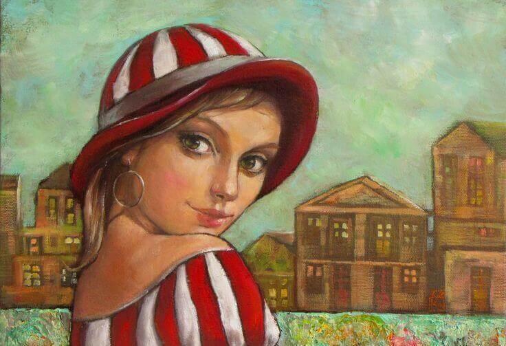 donna con cappello a righe