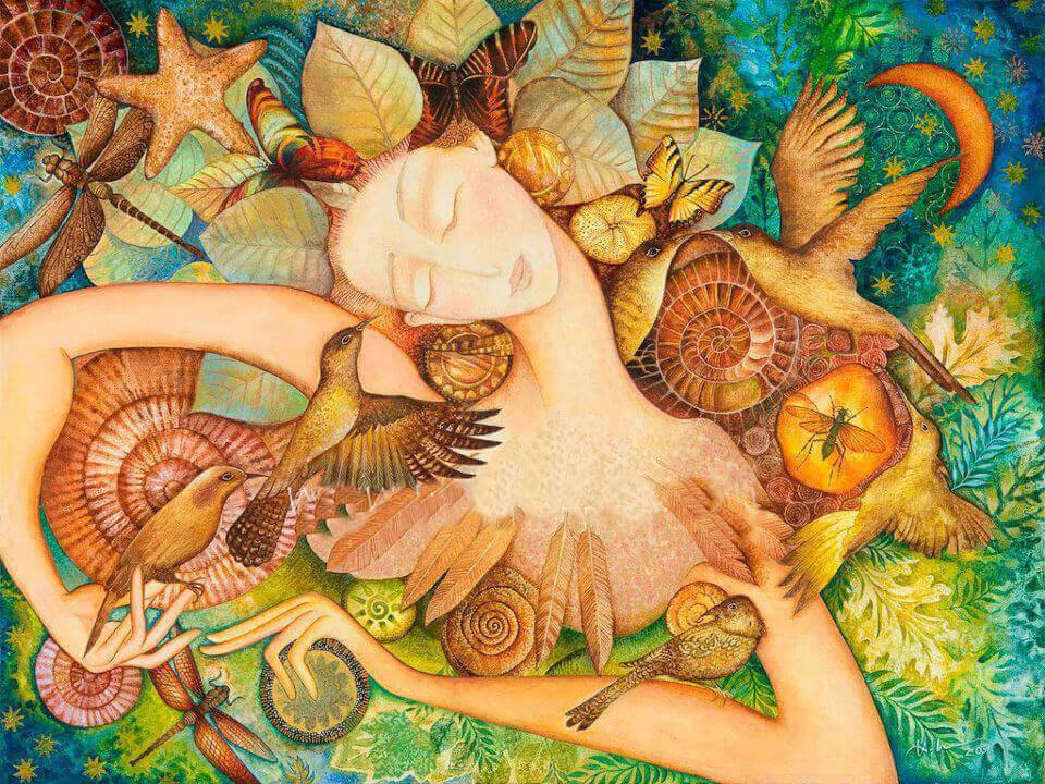 donna con volatili e fiori