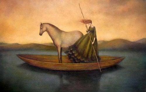 donna e cavallo sulla barca