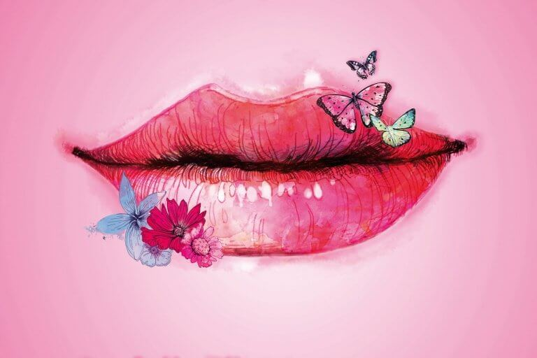 labbra con farfalle