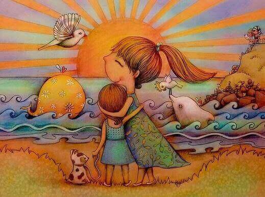 madre che abbraccia figlia davanti al mare