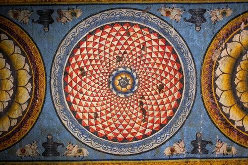 mandala sulla parete di un tempio