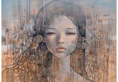 viso donna e bolle