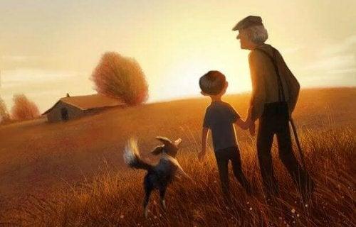 nonno, nipote e cane