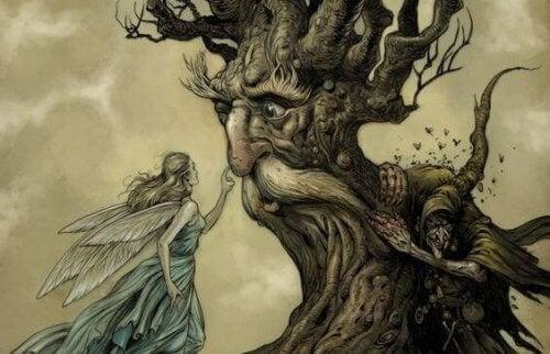 albero con viso da uomo e fata