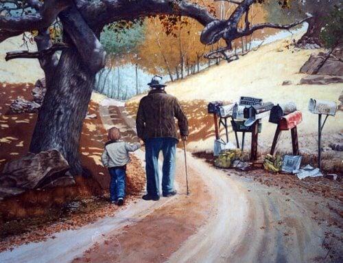 nonno con nipote che camminano