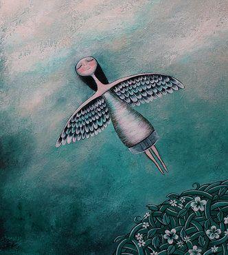 donna con ali che vola