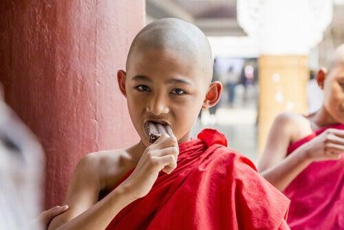 piccolo monaco mangia gelato al cioccolato