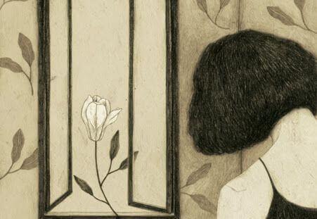 ragazza alla finestra con fiore