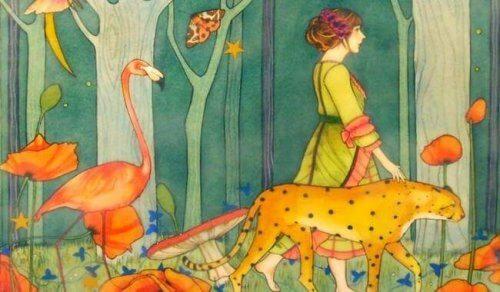 ragazza che cammina nella foresta con gheparddo e fenicottero