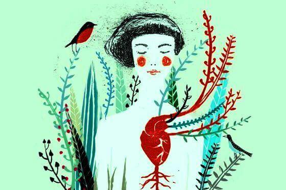 ragazza con cuore e piante