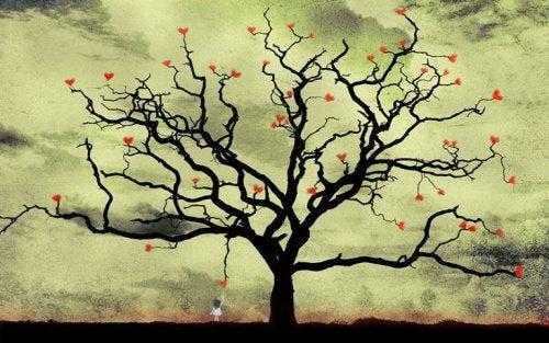 ramo con rami alle cui estremità c'è un cuore