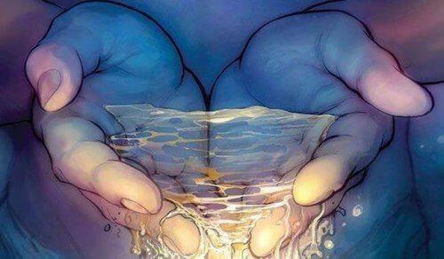 mani con acqua