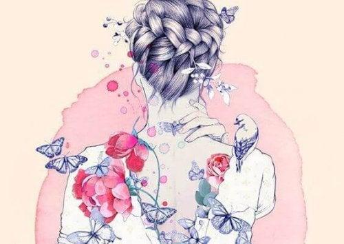 donna con farfalle e rose