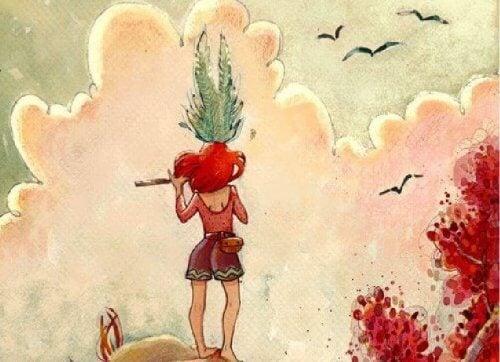 donna con pianta in testa che suona il flauto