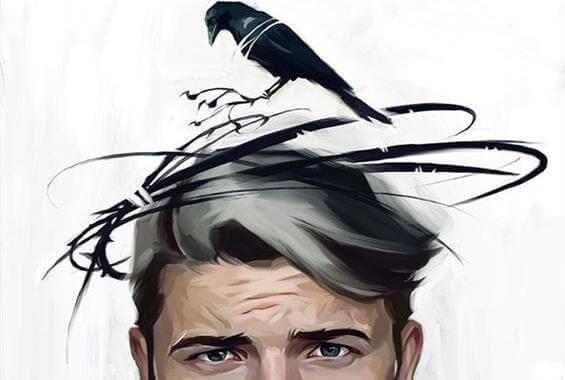 Uomo con uccelli sulla testa