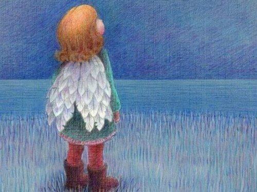 bambino con ali che guarda il cielo