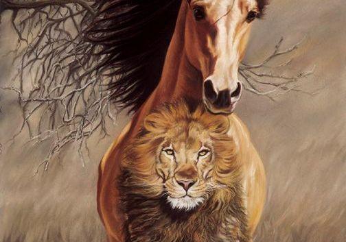 cavallo con un tatuaggio di un leone