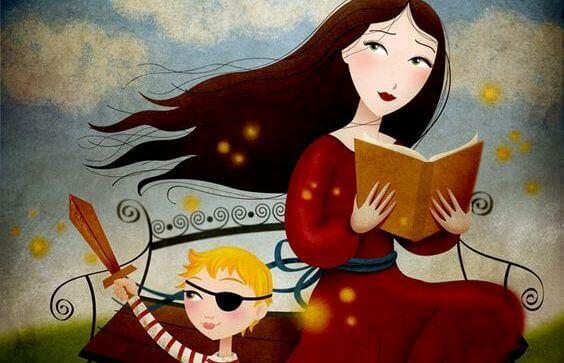 donna-che-legge-un-racconto-a-un-bambino