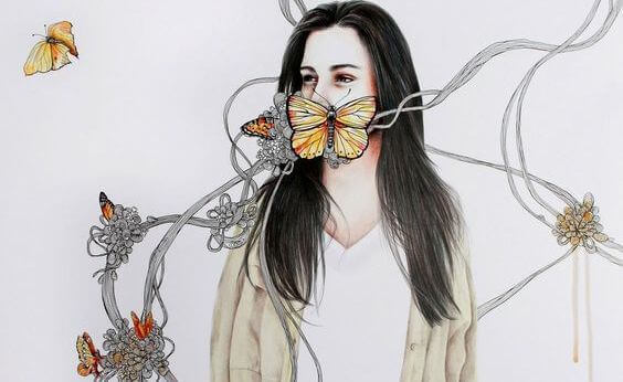 donna-con-farfalle-sulla-bocca