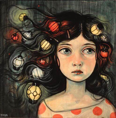 donna con lanterne tra i capelli