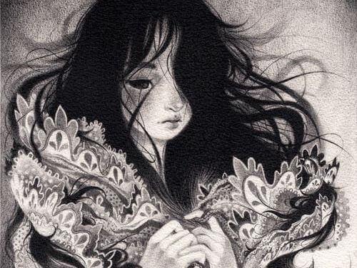 illustrazione-in-bianco-e-nero-di-ragazza-che-soffre