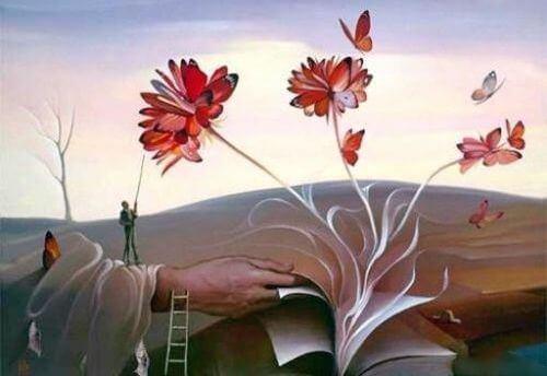 mano che apri libro da cui escono fiori