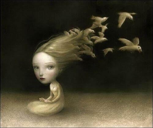 bambina da cui capelli volano uccelli
