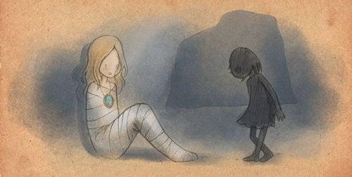 illustrazione ragazza coperta di bene