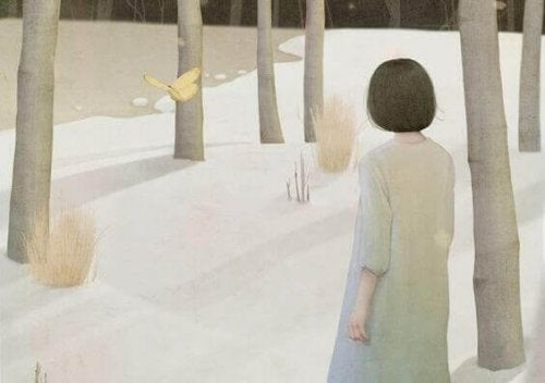 illustrazione donna in un bosco