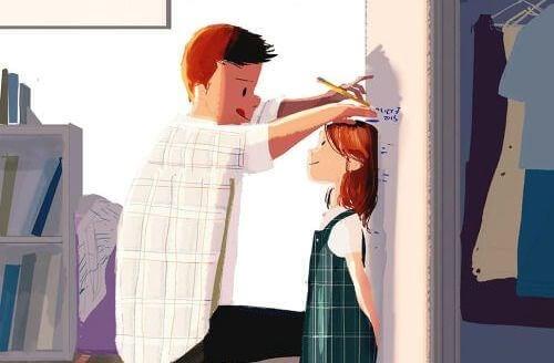 uomo-che-segna-laltezza-di-una-bambina-sulla-porta