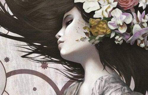 donna con fiori in testa