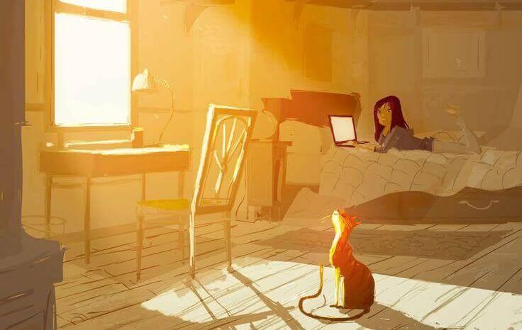 camera-da-letto-con-ragazza-e-gatto
