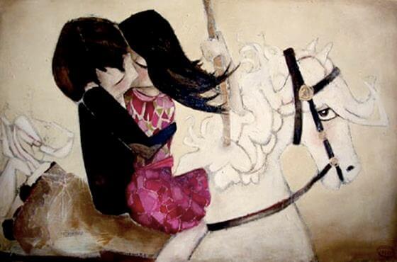 coppia-si-bacia-su-cavallo-bianco