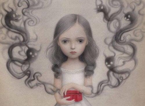 bambina con vaso di Pandora