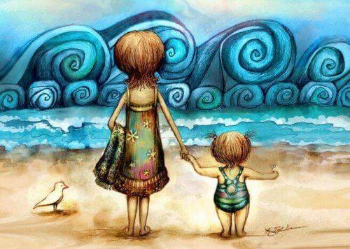 mamma e figlia la mare mano nella mano