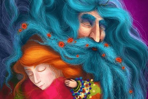 gigante dalla barba blu che abbraccia una bambina