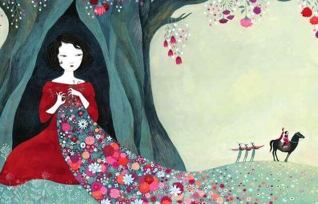 donna-con-una-coperta-di-fiori
