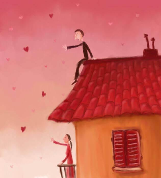 uomo-sul-tetto e donna sul balcone cuori in cielo