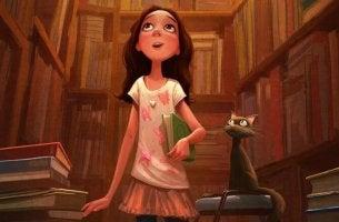 bambina-in-biblioteca