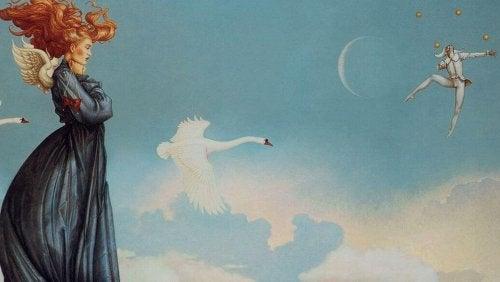 donna-angelo-e-cigno-in-cielo