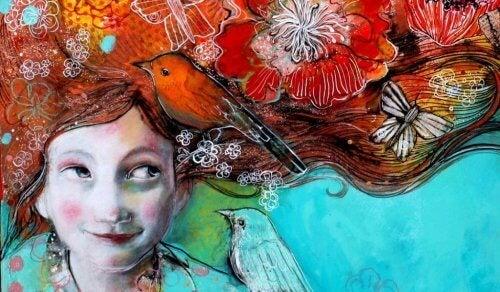 ragazza-con-capelli-colorati-e-uccellini