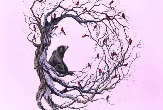albero-orso-e-uccelli