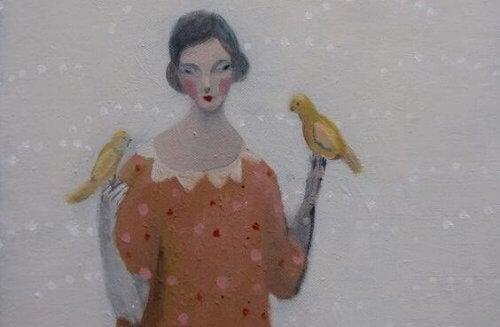donna-con-due-uccellini