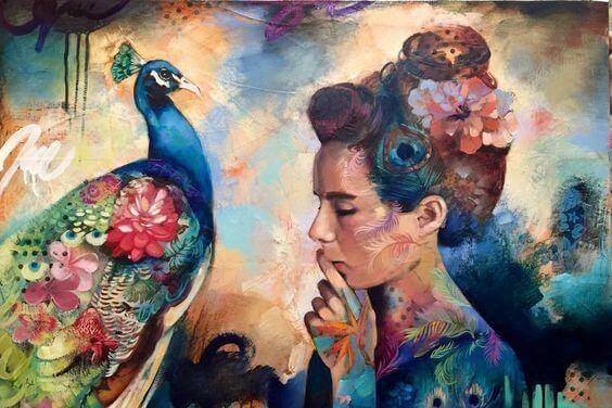 donna-con-pavone