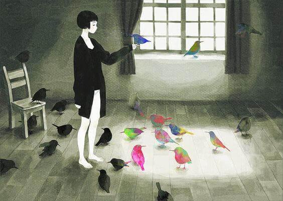 donna-con-uccelli