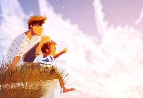 padre-e-figlio-guardano-il-cielo