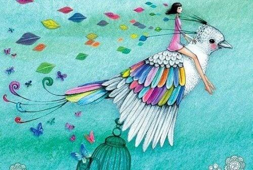 ragazza-su-uccello-colorato